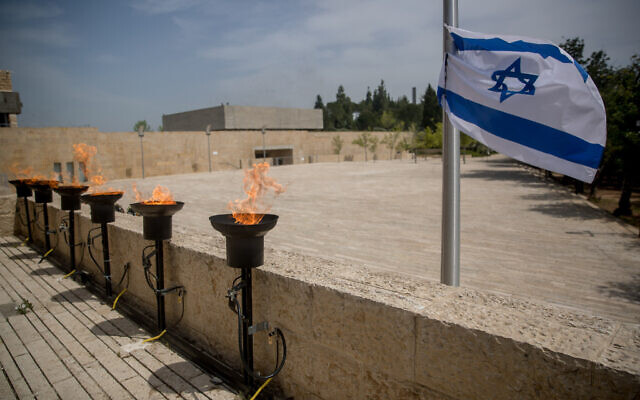 The empty Warsaw Ghetto Square at Yad Vashem Holocaust Memorial in Jerusalem is seen empty of people due to the Covid-19 virus pandemic during the Holocaust Remembrance Day on April 21, 2019.  Photo by: JINIPIX