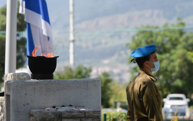 Israeli soldiers at Mount Qiryat Shemona Cemetery as Israel marked Memorial Day for the fallen soldiers and victims of terror in April. Photo by: Ayal Margolin-JINIPIX