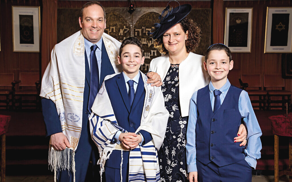 Anita Feldman with her husband Jonathan and sons, Sam and Adam, in a photograph taken two weeks ago at the Mosaic Jewish Community synagogue in Harrow (Photos by James Shaw Photography)