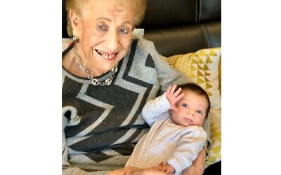 Betty Bobbe 93 with her great grandson.