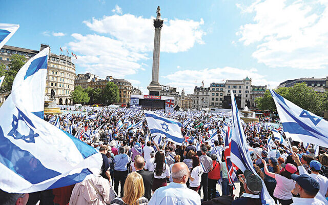 British and Israeli flags waved in Trafalgar Square