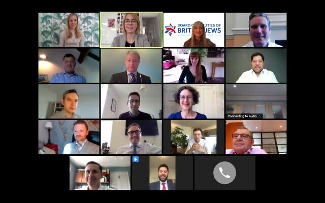 Labour leader Keir Starmer and deputy leader Angela Rayner in a video call with representatives from the Board of Deputies of British Jews, the Jewish Leadership Council, the Community Security Trust and the Jewish Labour Movement