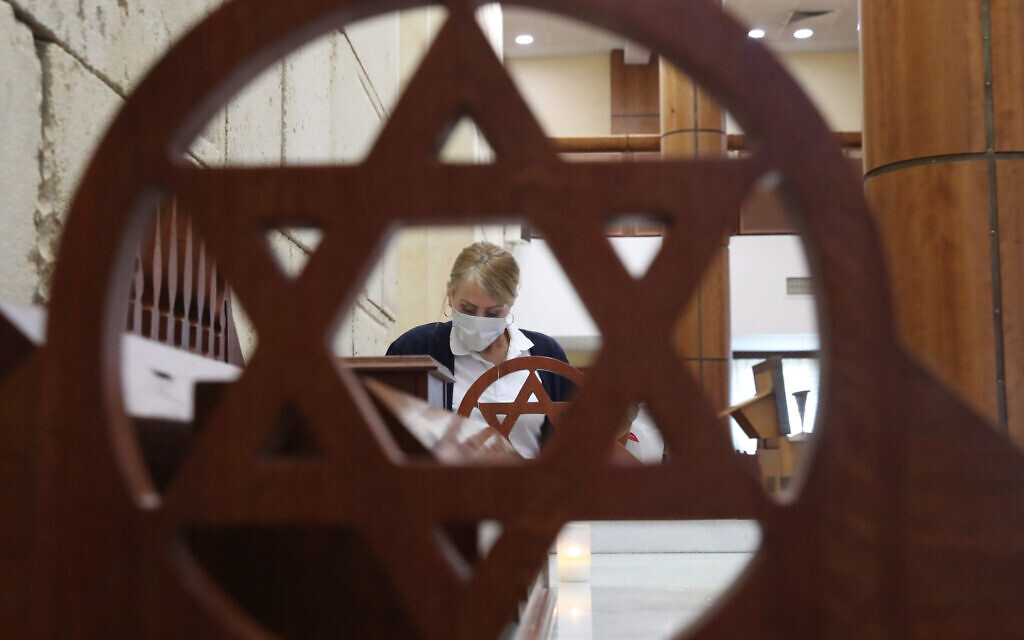 Sanitising in a synagogue