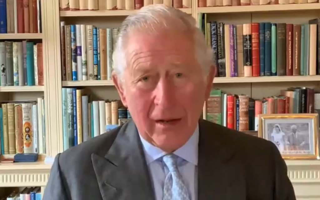 Prince Charles delivering a video message as part of the ceremony