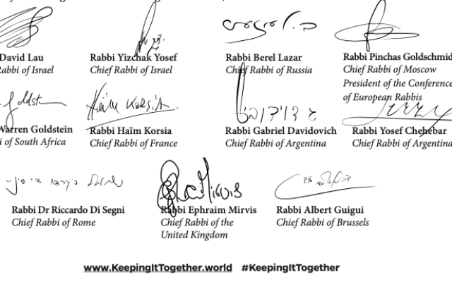 11 chief rabbis' signatures, urging kindness on the shabbat before Pesach