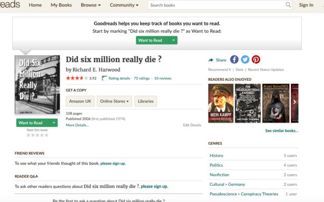 Screenshot: Goodreads