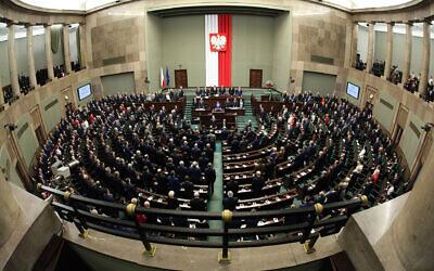 Sejm Meeting Hall  (Wikipedia/ The Chancellery of the Senate of the Republic of Poland / SourceSenat Rzeczypospolitej Polskiej/ AuthorKatarzyna Czerwińska)
