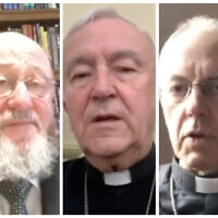 Mirvis (left) made the comments during a three-way video call with the Archbishop of Canterbury Justin Welby (right) and Cardinal Vincent Nichols of the Catholic Church (centre)