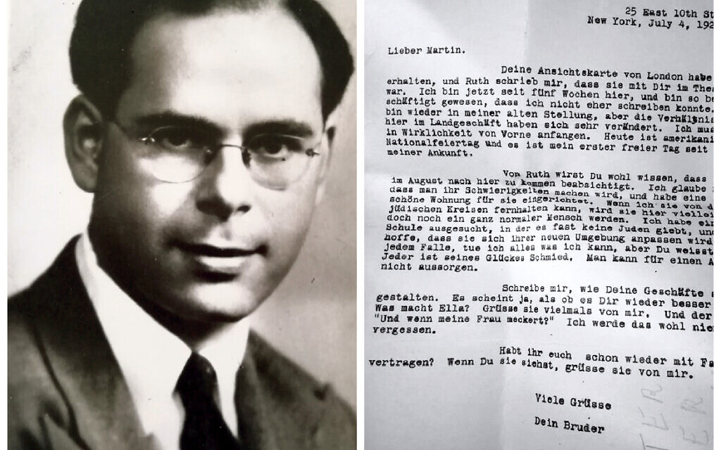 Herbert, born in Berlin, is pictured left. On the right is a a letter to Herbert's father from his uncle in 1929.