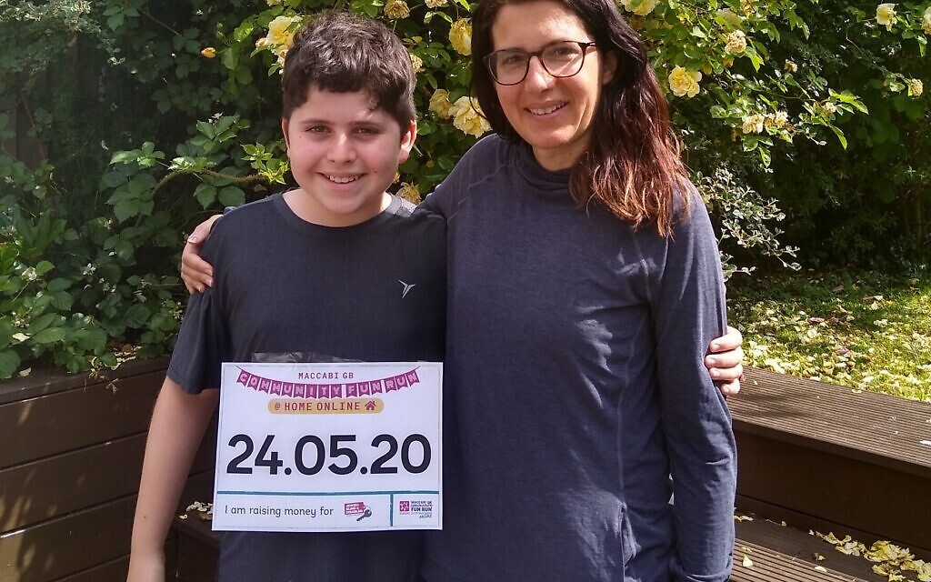 Twelve-year-old Harry Darsa may hate running, but he ran a distance of 5km for the Maccabi GB Community Fun Run @ Home Online to support his mum, Jewish Blind & Disabled CEO Lisa Wimborne.