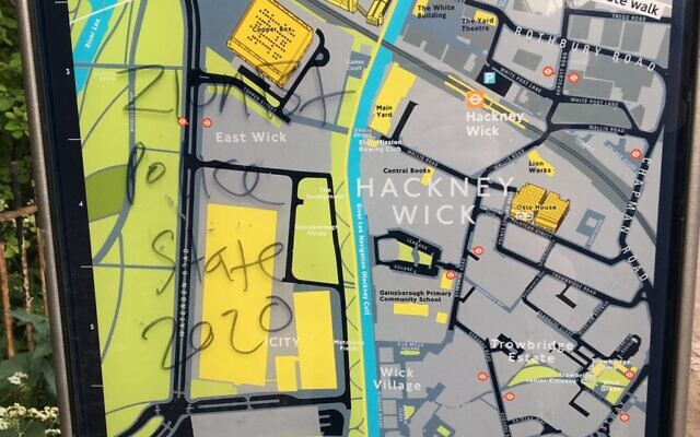'Zionist police state' daubed on a map in Hackney (Credit: Sophie Wilkinson)