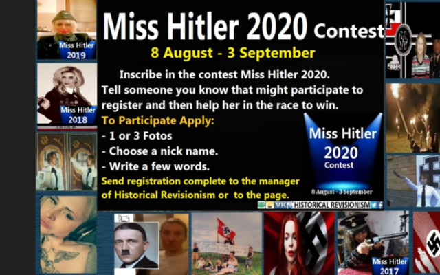 An advertisement for details about the Miss Hitler contest appears on the historical revisionism site World Truth. (Anti-Defamation Commission website via JTA)