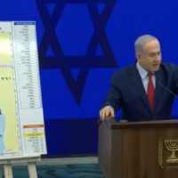 Benjamin Netanyahu during a press conference announcing the planned annexation, in September 2019