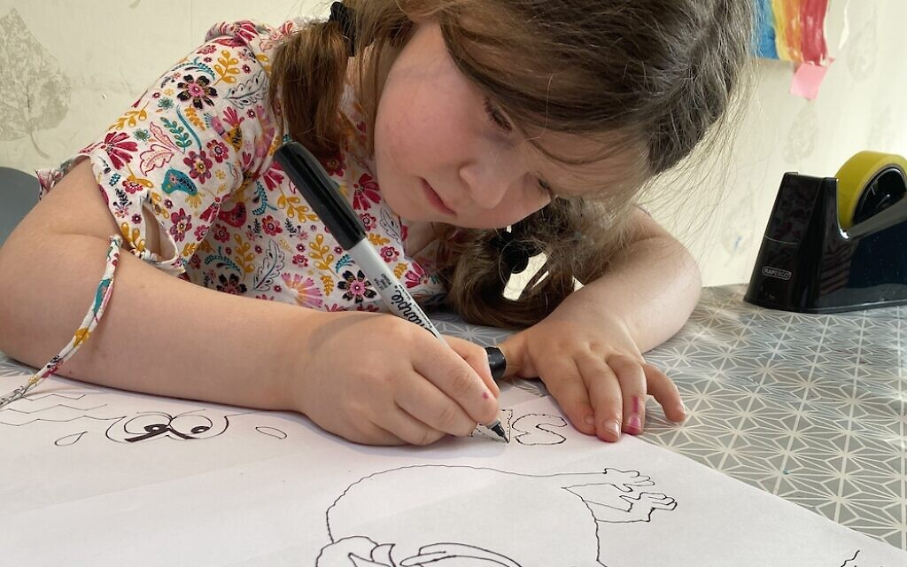Maisie Balkind, 5, drawing during Paul Solomons' cartoon class!