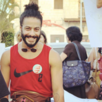 Ayman Safiah at Haifa's Pride Parade in 2019. (Ayman Safiah/ Screenshot from Instagram via JTA)