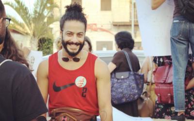 Ayman Safiah at Haifa's Pride Parade in 2019. (Ayman Safiah/ Screenshot from Instagram via JTA)