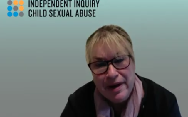 Shelley giving evidence at the Independent Inquiry in Child Sexual Abuse in Religious Settings
