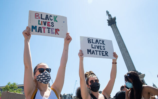 People take part in a Black Lives Matter protest in Trafalgar Square, London, following the death of George Floyd in Minneapolis, US, this week (Photo credit should read: Dominic Lipinski/PA Wire)