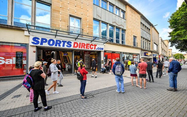 Queues outside Sports Direct in Bristol as non-essential shops in England open their doors to customers for the first time since coronavirus lockdown restrictions were imposed in March. (Photo credit: Ben Birchall/PA Wire)