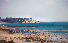 Tel Aviv's beach with Jaffa in the background   (Dana Friedlander - Israeli Ministry of Tourism.)