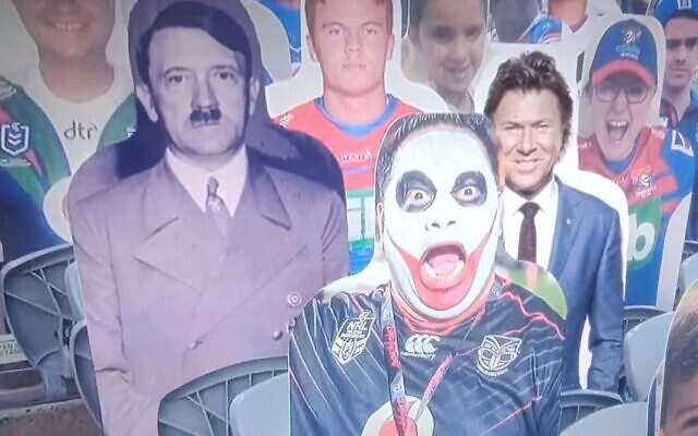 Cardboard cutout of Adolf Hitler pictured at the NRL game (Twitter)