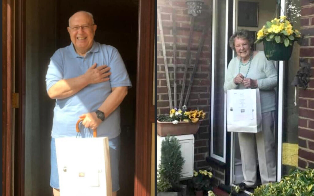 Egypt-born Dr Hussein 'Joe' Youssef and former teacher Eileen, aged 90, with their chicken soup food packages under lockdown