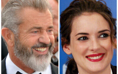 Mel Gibson (Wikipedia/ AuthorGeorges Biard/  Attribution-ShareAlike 3.0 Unported (CC BY-SA 3.0)  https://creativecommons.org/licenses/by-sa/3.0/legalcode) and Winona Ryder at the 2010 Toronto International Film Festival.  (Credit: Karon Liu, CC BY 2.0, https://commons.wikimedia.org/w/index.php?curid=15771575)