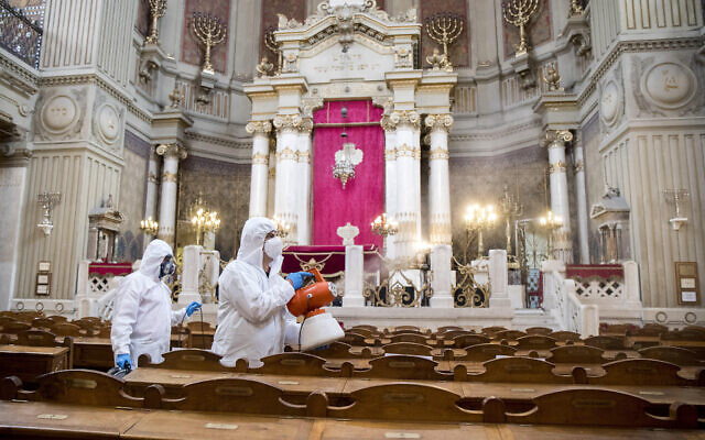 Italian synagogue is disinfected, as Jews prepare to get back to 'normal'  (Photo by Roberto Monaldo/LaPresse/Sipa USA)