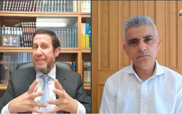 London Mayor Sadiq Khan speaking with Rabbi Schochet