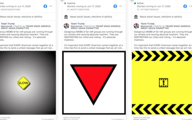 The ADL says the red triangle in a Trump campaign Facebook ad resembles a symbol used by the Nazis. (Screen shot from Facebook via JTA)