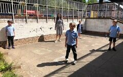 Sinai School students return to the playground