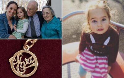 Top left, Miriam Saxl, with her elder daughter Maya, Eva and Jan Rocek, on the right, Miriam's daughter Eva, and bottom left, the gold pendant necklace