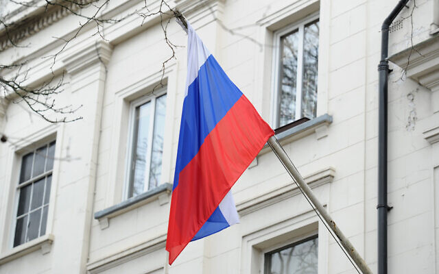 Russian flag outside the Russian Embassy in London. (Photo credit: Kirsty O'Connor/PA Wire)