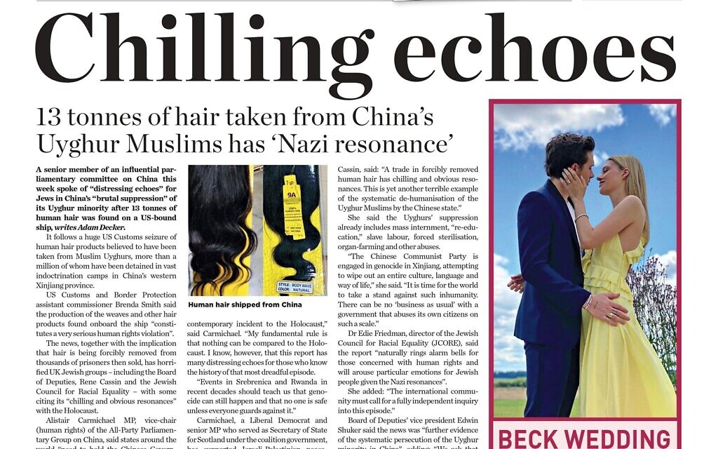 Jewish News front page on the Uyghur hair being sold, with 'chilling echoes' of the Shoah