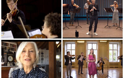 Screenshots, including of Dame Helen Mirren, as the Israel Philharmonic Orchestra entertained online