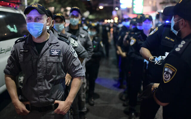 Israeli police during a Covid protest in  Tel Aviv in July, 2020. Photo by: Tomer Neuberg-JINIPIX er along the line.