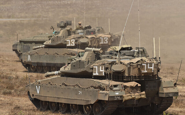 An Israeli army Merkava tanks seen in the Israeli-annexed Golan Heights on June 24, 2020.  on July 27, 2020. According to an Israeli army spokesperson, Israeli troops thwarted an infiltration attempt by a Hezbollah squad in the Mount Dov area. No injuries to the troops were reported. Photo by: Gil Eliyahu-JINIPIX
