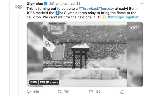 Screenshot of the International Olympics Committee's tweet about the notorious 1936 Nazi games