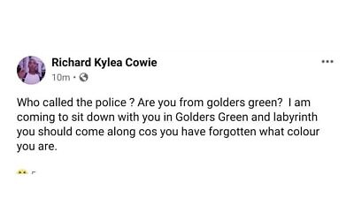 Wiley's post saying he'll come to Golders Green