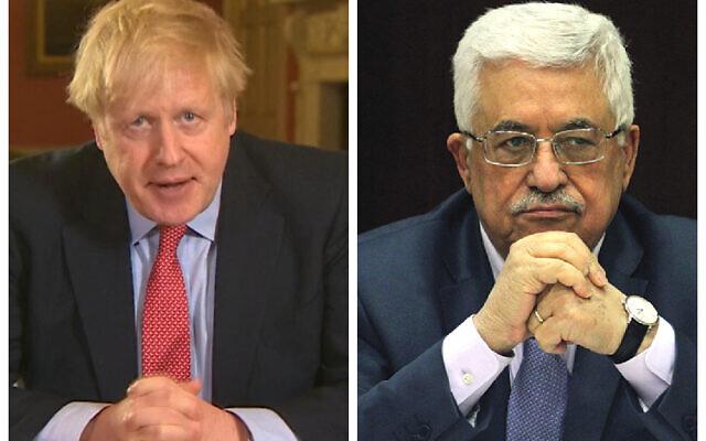 Boris Johnson and Mahmoud Abbas
