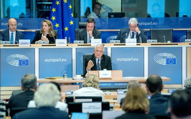 Foreign Policy chief Josep Borrell  testifies before the European Parliament  Committee on Foreign Affairs in 2019 (Wikipedia/ Source: https://www.flickr.com/photos/european_parliament/48859228518/ Author: AuthorEuropean Parliament from EU / Attribution 2.0 Generic (CC BY 2.0)  https://creativecommons.org/licenses/by/2.0/legalcode)