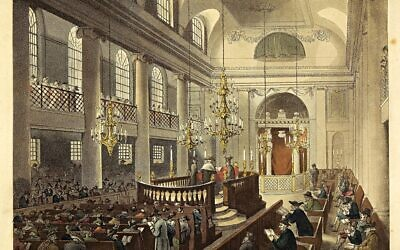 Synagogue, Duke's Place, Houndsditch. Interior of the Great, drawn and engraved by Pugin and Rowlandson. From The Microcosm of London, 1809. On loan to the Jewish Museum