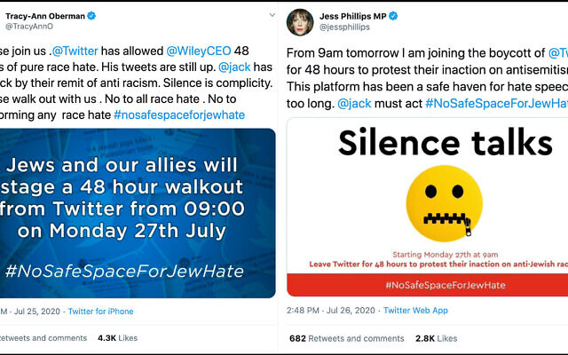 Actress Tracy-Ann Oberman called for a 48-hour boycott of Twitter to protest antiSemitism on the platform, many politicians joined, including Jess Phillips. (Twitter)