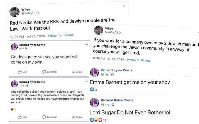 Some of Wiley's antisemitic comments online, which were left up by social media giants Twitter and Facebook