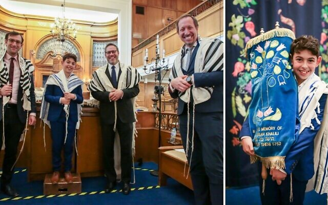 Photos of Matthew Benn's virtual bar mitzvah live streamed on Sunday for friends and family unable to attend Saturday's service (Credit: James Shaw)