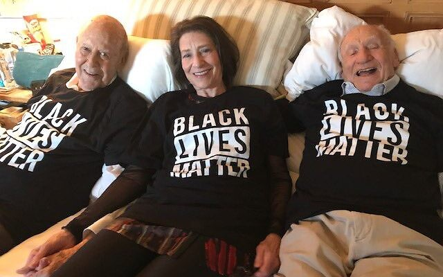 Carl Reiner with daughter Annie and Mel Brooks