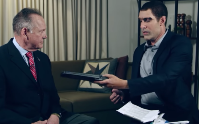 """Roy Moore, left, appearing on Sacha Baron Cohen's show """"Who is America?"""" (Screenshot from YouTube via JTA)"""