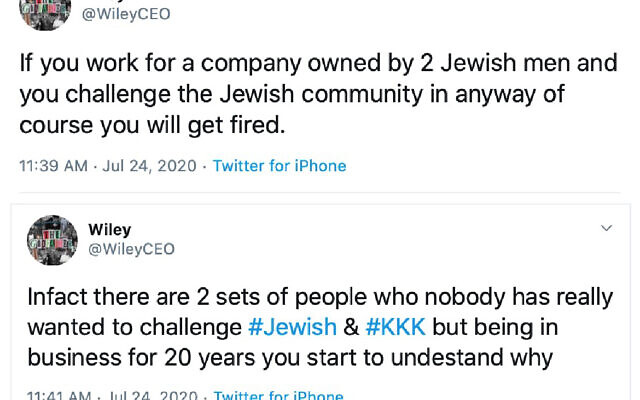 Two of Wiley's hateful tweets