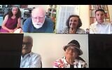 Screenshot of the family's first zoom meeting. The Shulman family (Jason and Arlene) are in the top left. Bilha (Lily's daughter) and Julian (Lily's son in law) are in the bottom left and Dov and Lily are in the top right