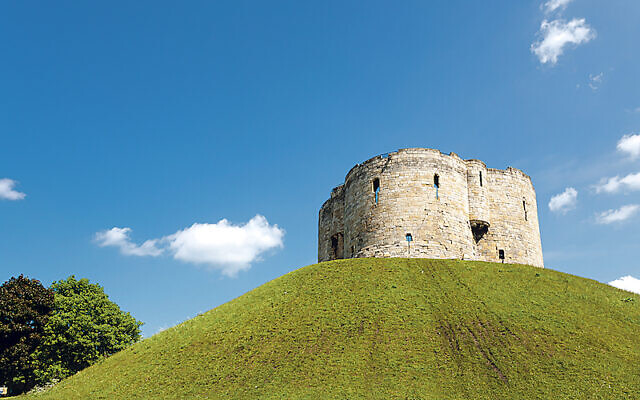 Clifford's Tower at York, the site of one of the worst cases of antisemitic violence in Britain